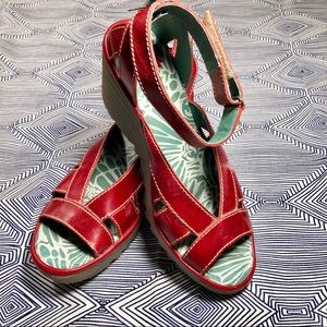 Fly London red sandals with ankle strap
